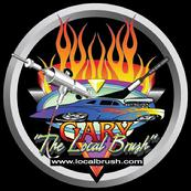 "GARY, ""THE LOCAL BRUSH"" LOGO is used on business cards, letterheads, ""T"" shirts, decals & of course on this web site"