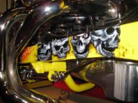 Airbrushed SKULLS under the chromed headers