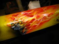 A Flaming hot Skull on the Chassis Rail