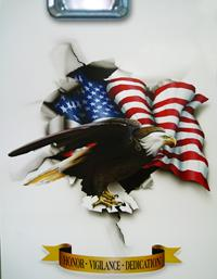 Close Up of an AIRBRUSHED Eagle & the American Flag tearing through the torn steel