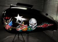 Custom AIRBRUSHED tank left side with mat clear coat