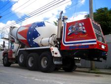 Front loading cement mixer with curved AIRBRUSH patriotic LETTERING