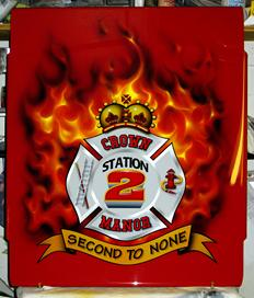 An AIRBRUSHED with REAL FIRE--plate mounted on Station 2 Tiller