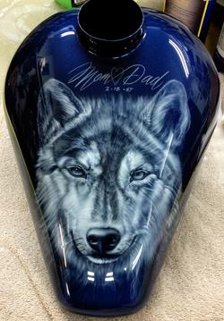 Its not a Motorcycle tank. It's an urn at only 10 inches long. Airbrushed, blue pearl & clear coated with absolutely no orange peel....Original art by Russian artist Alina Tarasenko.