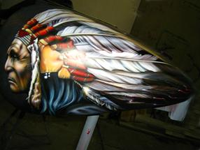 INDIAN HEAD with HEADDRESS on TANK