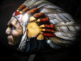 INDIAN HEAD with HEADDRESS on TANK - DETAIL