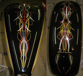 PINSTRIPING & Scallops on a HARLEY DAVIDSON TANK & FENDER