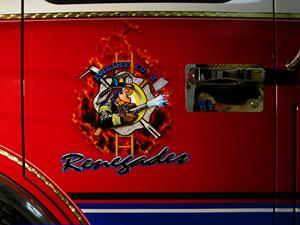 "Airbrushed on Door of North Merrick Fire Dept. Engine 2 ""Renegades""  Logo/Patch"