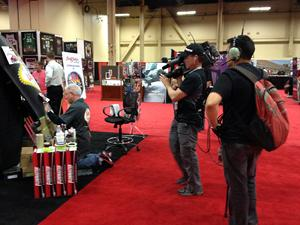 The SPEED CHANNEL crew filming Gary as he works on at the Barrett Jackson Auction