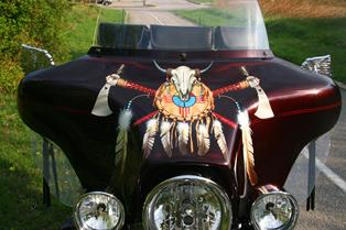 Harley WINDSHIELD with INDIAN motif Airbrush art