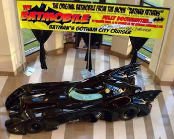 Batman needed Gary's help to sell his car.  The art work is printed on a VINYL BANNER