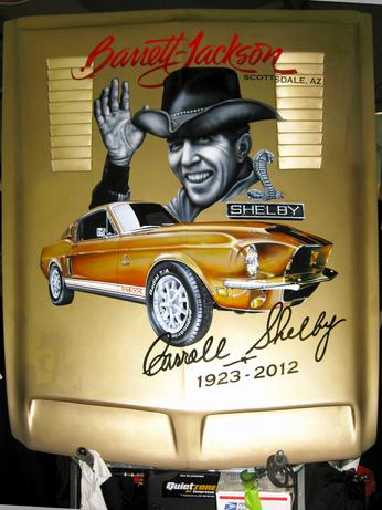 Airbrushed Carroll Shelby portrait on a 1968 Shelby Mustang hood