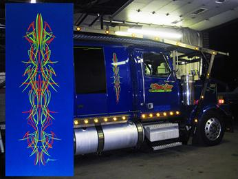 Gary lettered & pinstriped the car carrier last year.  Now the owner wanted a PINSTRIPED PANEL to match for his house.