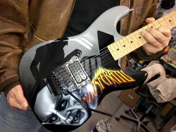 NOSFERATU airbrushed guitar is assembled & ready to play