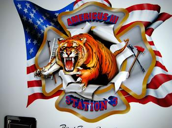 Enraged attacking Tiger, The North Babylon Logo/Patch Airbrushed by Gary the Local Brush