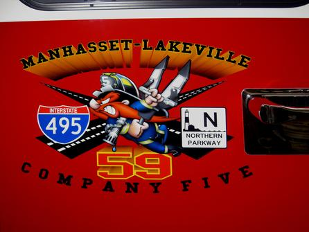 DETAIL- Logo.. The Manhasset-Lakeville Fire Dept. is located at the crossroads of Long Island's  two major highways.  I-495 The Long Island Expressway & The Northern State Parkway.