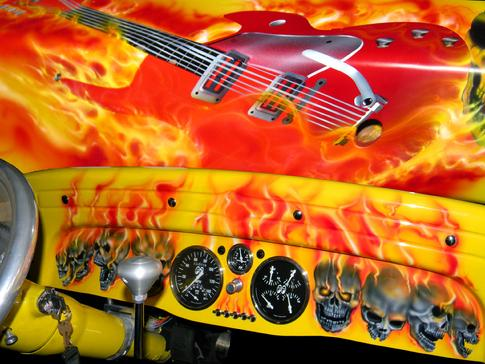 1932 Supercharged Chevy with a Flaming Guitar & Skulls are Airbrushed on the Dash & Chassis Rails