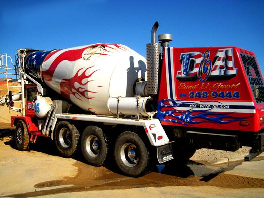 Front loading cement mixer with AIRBRUSH patriotic LETTERING & FLAMES
