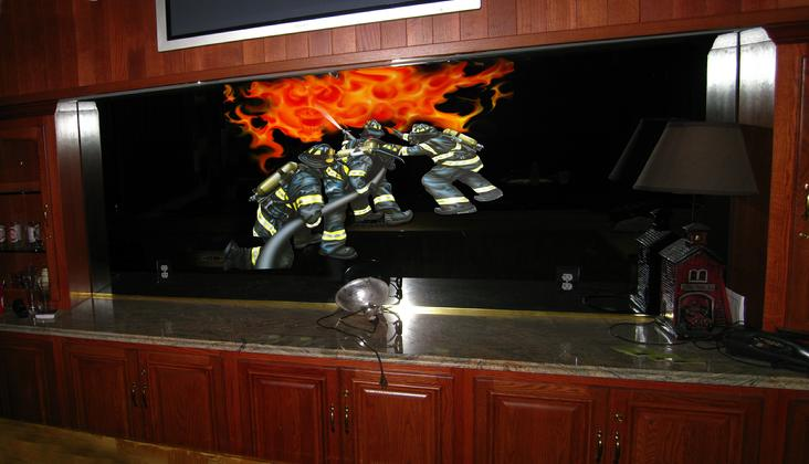 AIRBRUSH ART on the mirror behind the bar in the Firemen's lounge.